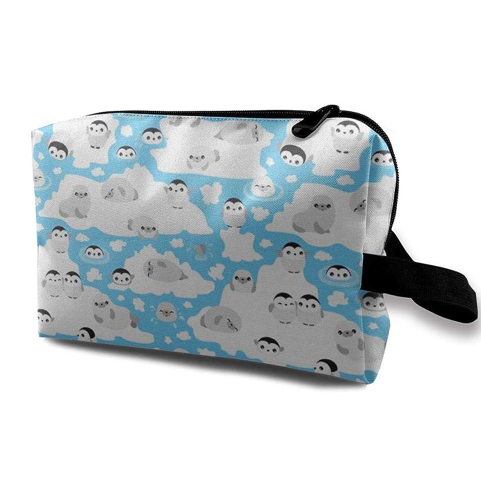 装置南西気がついてかわいいペンギン 化粧ポーチ トイレタリーバッグ トラベルポーチ 洗面用具入れ フルメイクセットバッグ 大容量 化粧品収納 出張 海外 旅行グッズ 育児グッズ レディース インナーバッグ