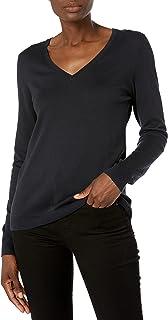 Amazon Brand - Lark & Ro Women's Long Sleeve V Neck Pima Cotton Sweater
