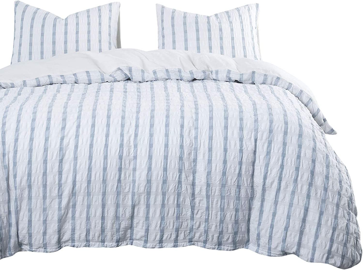 Wake In Cloud - Seersucker Duvet Cover Set, 100% Washed Cotton Bedding, Grid Plaid with bluee greenical Stripes and White Horizontal Striped (3pcs, King Size)