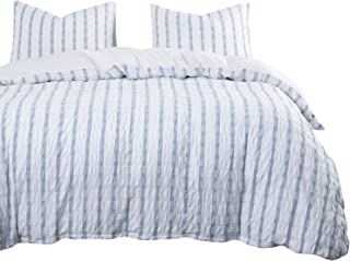 Wake In Cloud - Seersucker Duvet Cover Set, 100% Washed Cotton Bedding, Grid Plaid with Blue Vertical Stripes and White Horizontal Striped (3pcs, Queen Size)