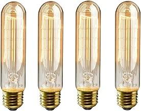 KINGSO 4 Pack E26 E27 Vintage Edison Light Bulbs 60W 110V T10 Dimmable Tubular Light Bulb Nostalgic Tungsten Filament Incandescent Antique Bulb for Home and Commercial Light Fixtures