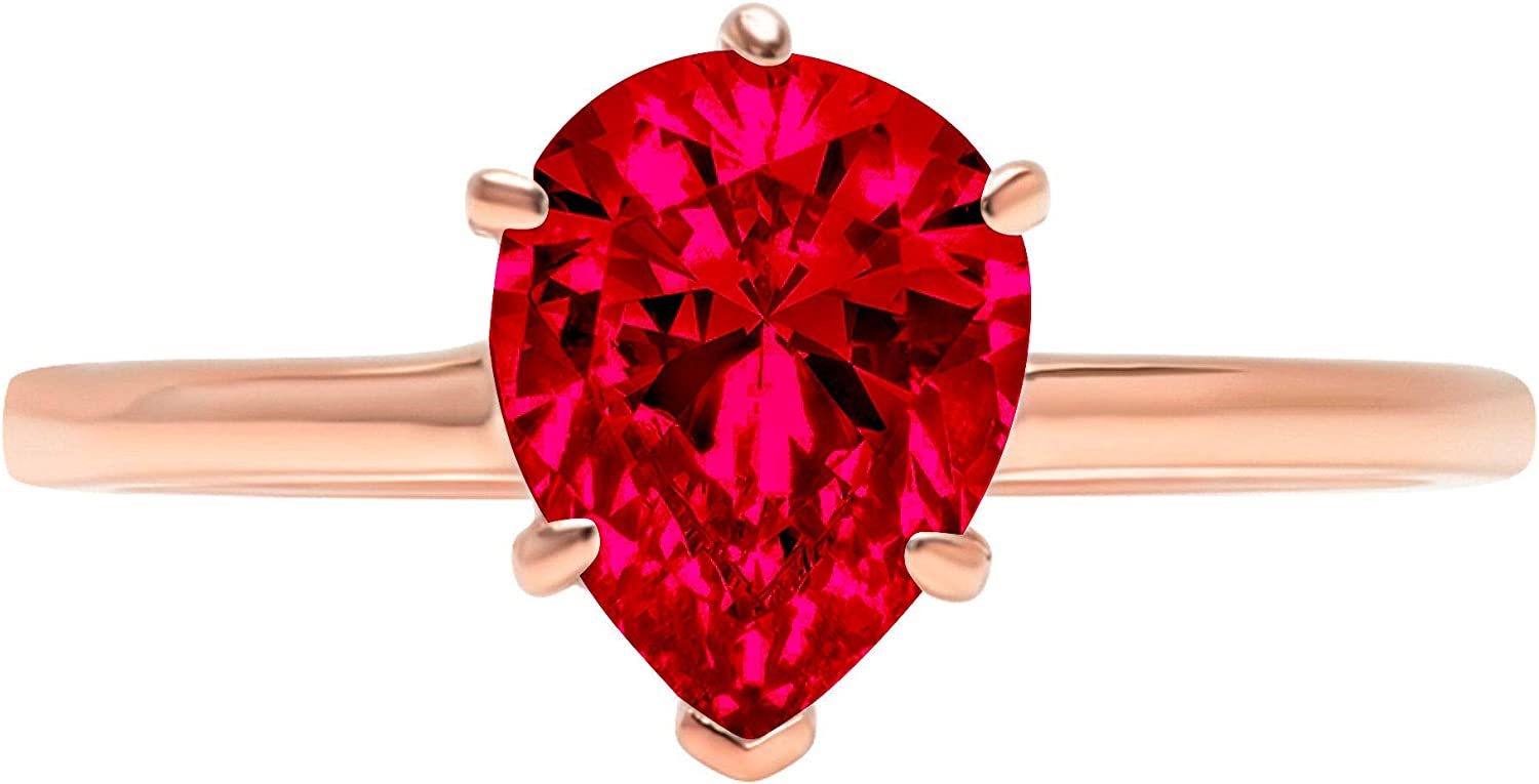 0.95 ct Brilliant Pear Cut Solitaire Flawless Pink Tourmaline Ideal VVS1 6-Prong Engagement Wedding Bridal Promise Anniversary Designer Ring Solid 14k Rose Gold for Women
