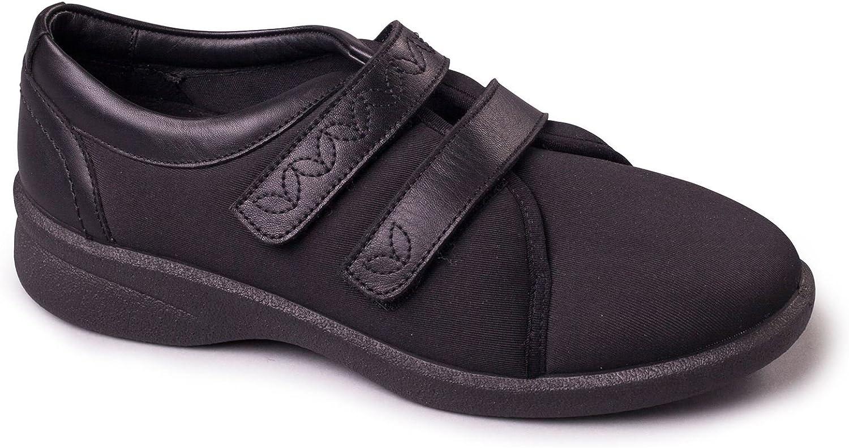 Padders Damen Damen-Schuhe - Revive 2 - Oberleder - Extra Wide EEE EEEE Dual-Width Montage mit 2 Einlegesohlen - Schwarz Lycra Farbe - Gre 43 EU
