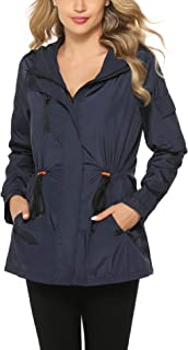 Abollria Raincoats Waterproof Rain Jacket Active Outdoor Detachable Hooded Windbreaker Women's Rain Coats