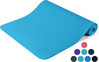 Yoga Mat Non Slip - Longer and Wider Than Other Exercise Mats - ¼-Inch Thick High Density Padding to Avoid Sore Knees During Pilates, Stretching & Toning Workouts for Men & Women