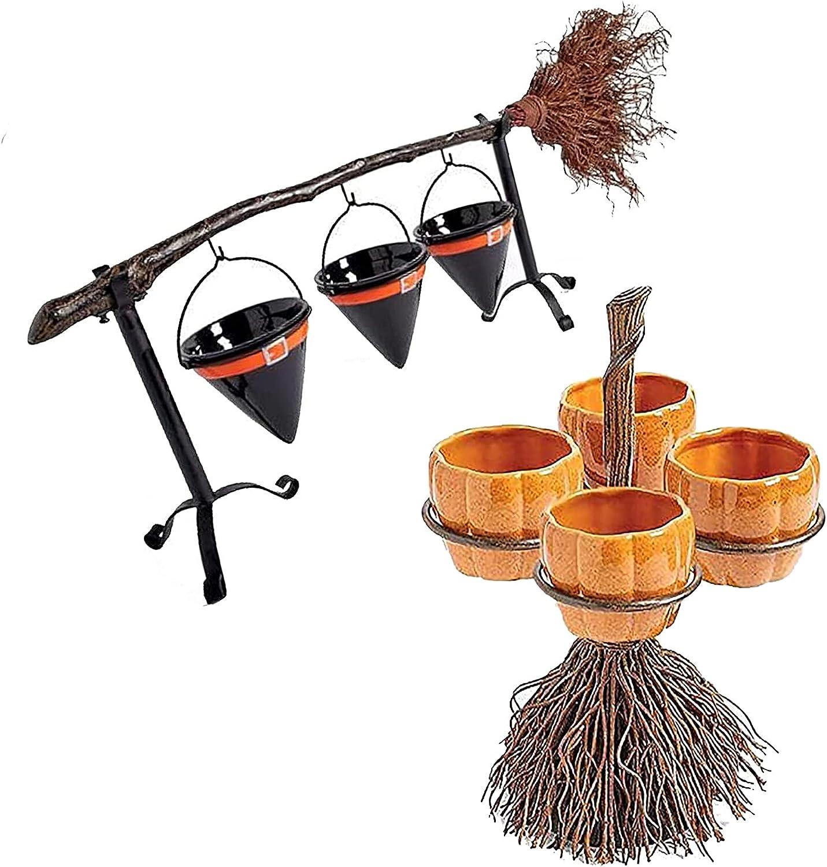 LYANXI Halloween Snack Rack Over item handling ☆ Resin Bowl Stand Hallow Broom Max 74% OFF