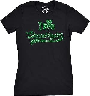 Womens I Clover Shenanigans Glitter T Shirt Cute Irish Shirt