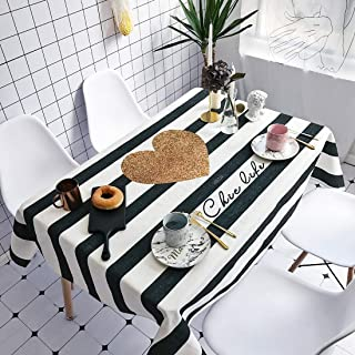 Simple Modern kitchen/home tools Striped Love Pattern Waterproof Anti-scalding Rectangle Cotton and Linen Table Cloth,Simp...