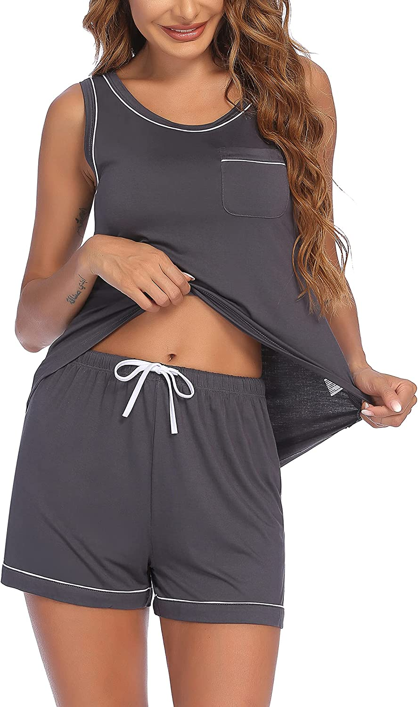 Ekouaer Women's Pajamas Set Sleeveless Sleepwear Tops and Pjs Shorts Soft Nightwear Lounge Sets