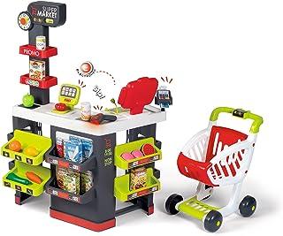 Smoby - Supermarket - Marchande pour Enfant - Chariot de Course Inclus - Vraie Calculatrice - 42 Accessoires - 350228