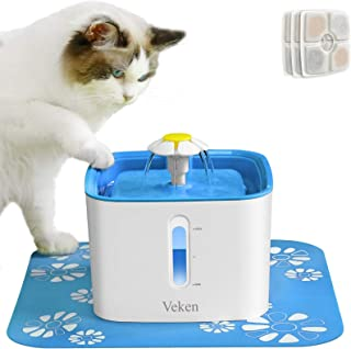 Veken Cat Water Fountain, 2.5L Automatic Pet Water...