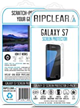 RIPCLEAR for Samsung Galaxy S7 Smartphone Unbreakable Screen Protector Kit - Military Grade Scratch-Resistant, All-Weather Protection, Crystal Clear - 2-Pack