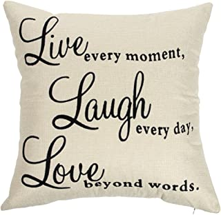 Ogiselestyle Live Every Moment Laugh Every Day Love Beyond Words Motivational Sign Cotton Linen Home Decorative Throw Pillow Case Cushion Cover with Words for Book Lover Sofa Couch 18