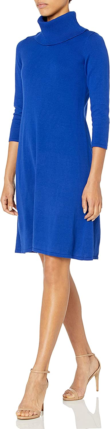 NINE WEST Women's Cowl Neck Fit and Flare Sweater Dress