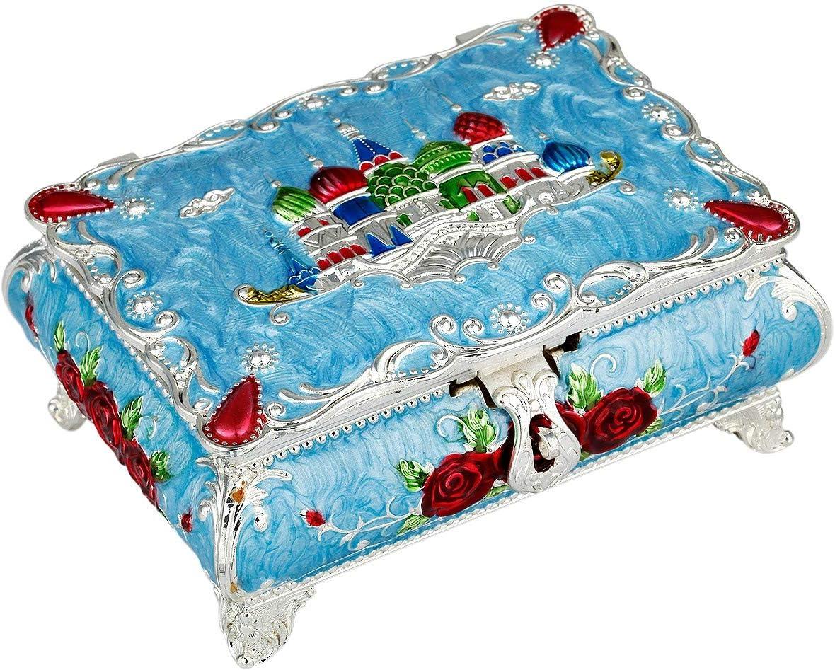 "Details about  /Vintage TRINKET BOX Blue w// Flowers Lace Gold Trim Roses Inside 5-1//2/"" x 2/"" WOOD"