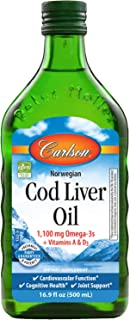 Carlson - Cod Liver Oil, 1100 mg Omega-3s + A & D3, Wild-Caught Norwegian Arctic Cod-Liver Oil, Sustainably Sourced Nordic...