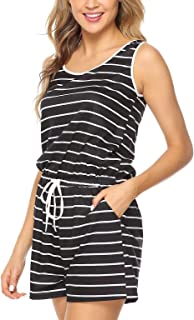 Women One Piece Sleeveless Striped Short Jumpsuit Casual Sport Romper Playsuit