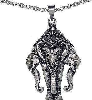 Holy 3 Headed Elephant God Erawan Genesha Hindu Pewter Pendant Necklace w Stainless Steel Chain