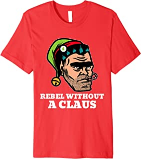 Rebellious Elf Rebel Without a Claus Funny Christmas Pun Premium T-Shirt