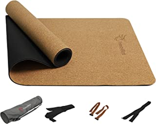 FrenzyBird 5mm Natural Cork Yoga Mat with Oxford Mat Bag and Strap, Non-Slip, Double-Sided,Antimicrobial,Free of PVC and Other Harmful Chemicals, for Yoga,Hot Yoga and Pilates …