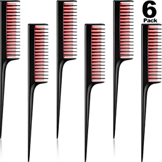 6 pack Triple Teasing Comb Teasing Comb for Back Combing, Rat Tail Combs for Women, Adding Volume, Evening Styling