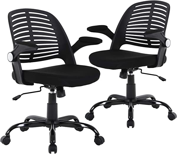 Computer Ergonomic Chair Heavy Duty Metal Base Desk Chairs Executive Adjustable Swivel Rolling Chair With Arms Lumbar Support Task Home Office Chair For Women Men Black Set Of 2