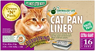 Green 'N' Pack Extra Large Drawstring Cat Pan Liner, 16-Count