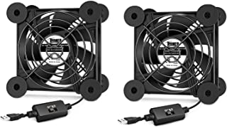 iPower 2 Pack Silent 80mm USB Fan with Speed Controller for Indoor Plant Stand Shelf Ventilation Circulate Air, 80 mm, Black