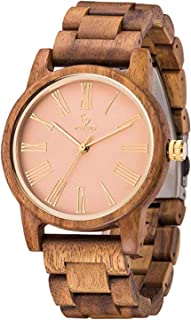 Women Wood Watch,MUJUZE Luxury Style Slim Lightweight 40mm Women Men Fashion Wooden Watch Gift Box(Acacia)