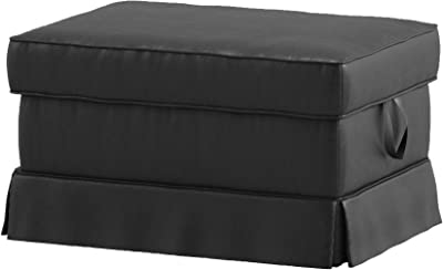 The PU Leather Ektorp Footstool Cover Replacement is Custom Made for Ikea Ektorp Ottoman Or Stool Slipcover (Leather Black)