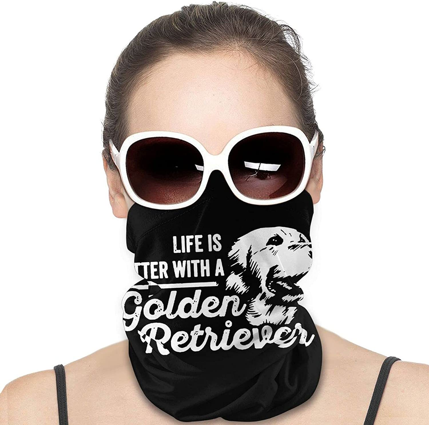 Life is Golden Retriever Dog Round Neck Gaiter Bandnas Face Cover Uv Protection Prevent bask in Ice Scarf Headbands Perfect for Motorcycle Cycling Running Festival Raves Outdoors