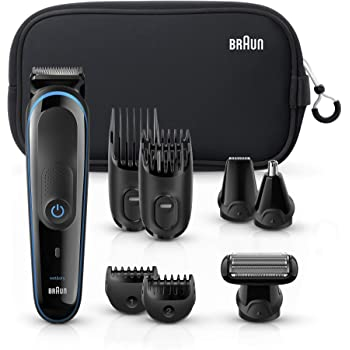 Braun All-in-one trimmer MGK3980, 9-in-1 Beard Trimmer, Hair Clipper, Ear and Nose Trimmer, Body Groomer, Detail Trimmer, Rechargeable, with Gillette ProGlide Razor, Black/Blue