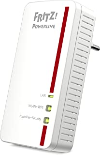 AVM FRITZ!Powerline 1260E Adattatore singolo (1.200 MBit/s, WLAN-Access Point, ideale per streaming o connessioni NAS) ver...