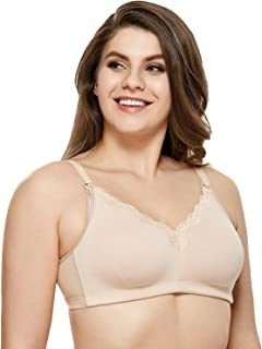 Gratlin Women's Wirefree Non Padded Plus Size Cotton Maternity Nursing Bra Lace