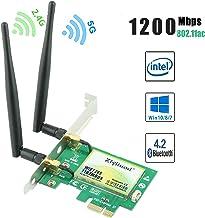 Ziyituod Tarjeta WiFi Gigabit, Tarjeta WiFi PCIe Bluetooth CA, Tarjeta Adaptador Wiif para computadora de Escritorio y Videojuegos. para Intel AC 7265-867 Mbps + Bluetooth 4.2