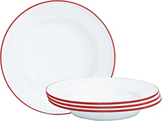 Enamelware Raised Salad Plates - Set of 4 - Solid White with Red Rim
