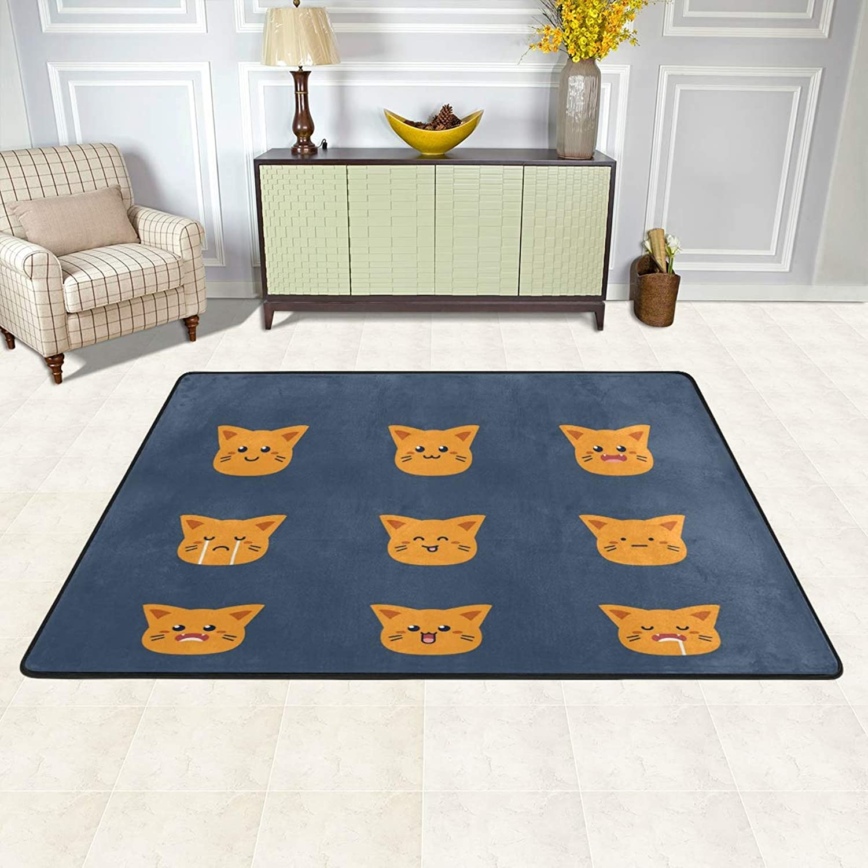 MALPLENA Cat Face Emoji Rugs for Living Room Doormat Carpet Floor Mats shoes Scraper for Living Room Dining Room Bedroom Kitchen Non Slip