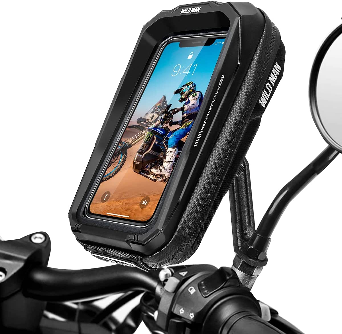 LUROON Soporte Movil Moto Impermeable 360°Rotación Anti Vibración Soporte Moto Aluminio Soporte Motocicleta Soporte Telefono Motocicleta Retrovisor para 3.5-6.7