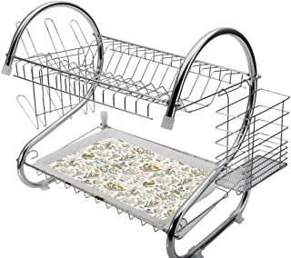 Stainless Steel 2-Tier Dish Drainer Rack Floral by Kitchen Drying Drip Tray Cutlery Holder Vintage Garden Plants with Herbs Flowers Botanical Classic Design,Multi,Storage Space Saver