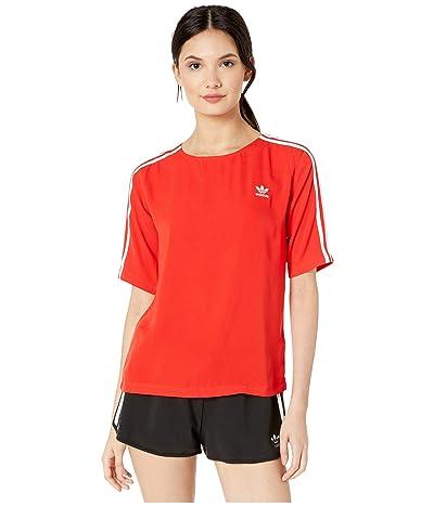 adidas Originals 3-Stripes Back-Zip Tee (Red) Women