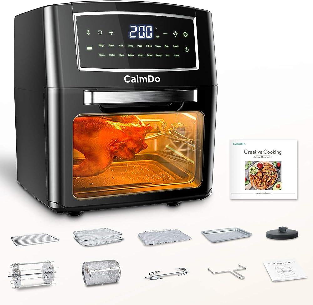 Calmdo friggitrice ad aria 12l, forno ad aria calda 18 programmi con touch screen, 1500w AF-120CDEU