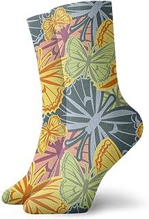 Hunter qiang, Calcetines para mujeres y hombres, bonitos patrones sin costuras, con mariposas, calcetines de deporte, 30 cm