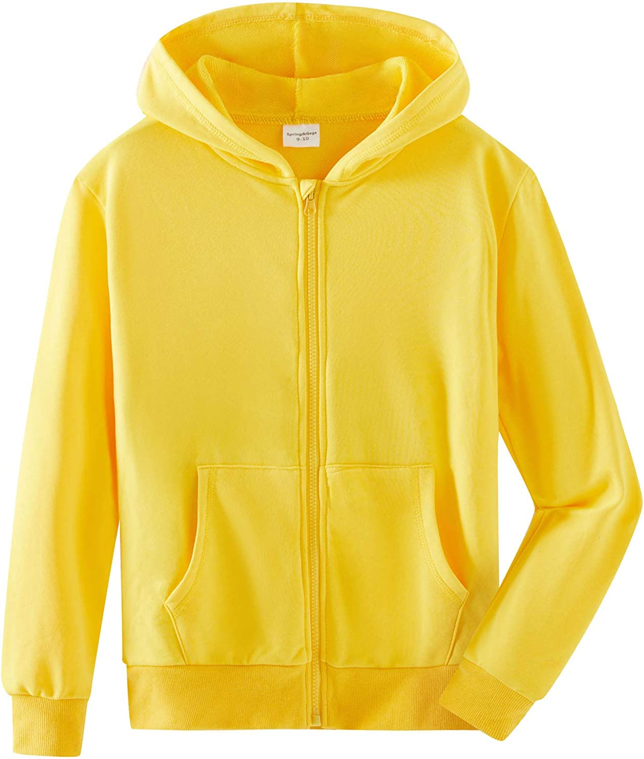 SpringGege Youth Manufacturer regenerated Some reservation product Solid Classic Hoodies Soft Swe Full Hooded Zip