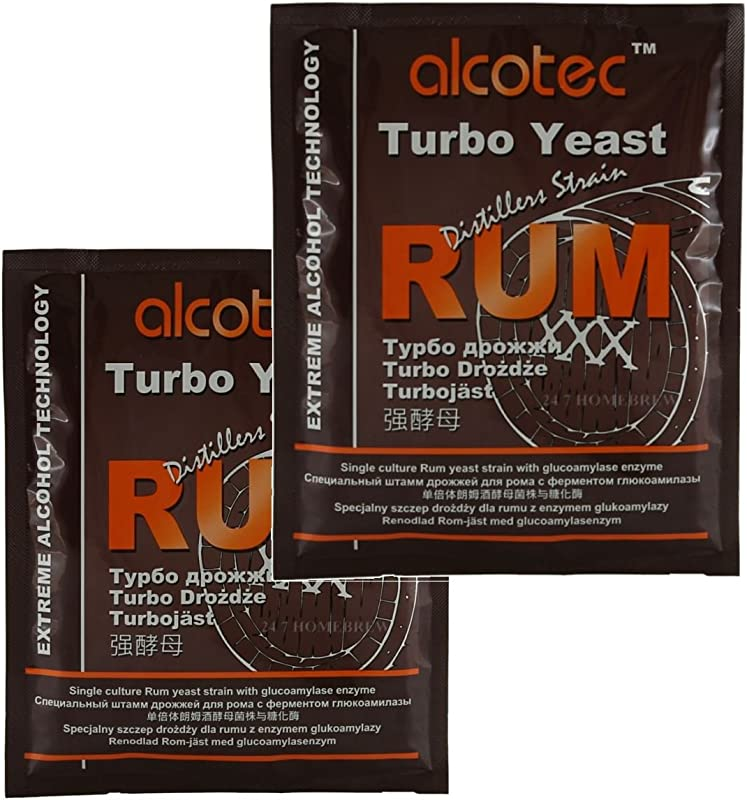 2x Alcotec Distiller S Yeast Rum With Glucoamylase Enzyme 73g 25L