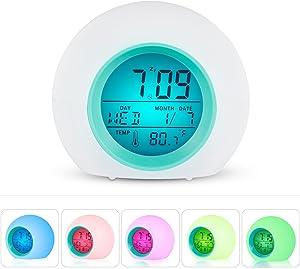Sveglia Digitale, CompraFun Orologio Sveglia con Luce di Colore Vario e Suoni Naturali, Display a LED con Tempo, Data, Temperatura, Funzione Snooze