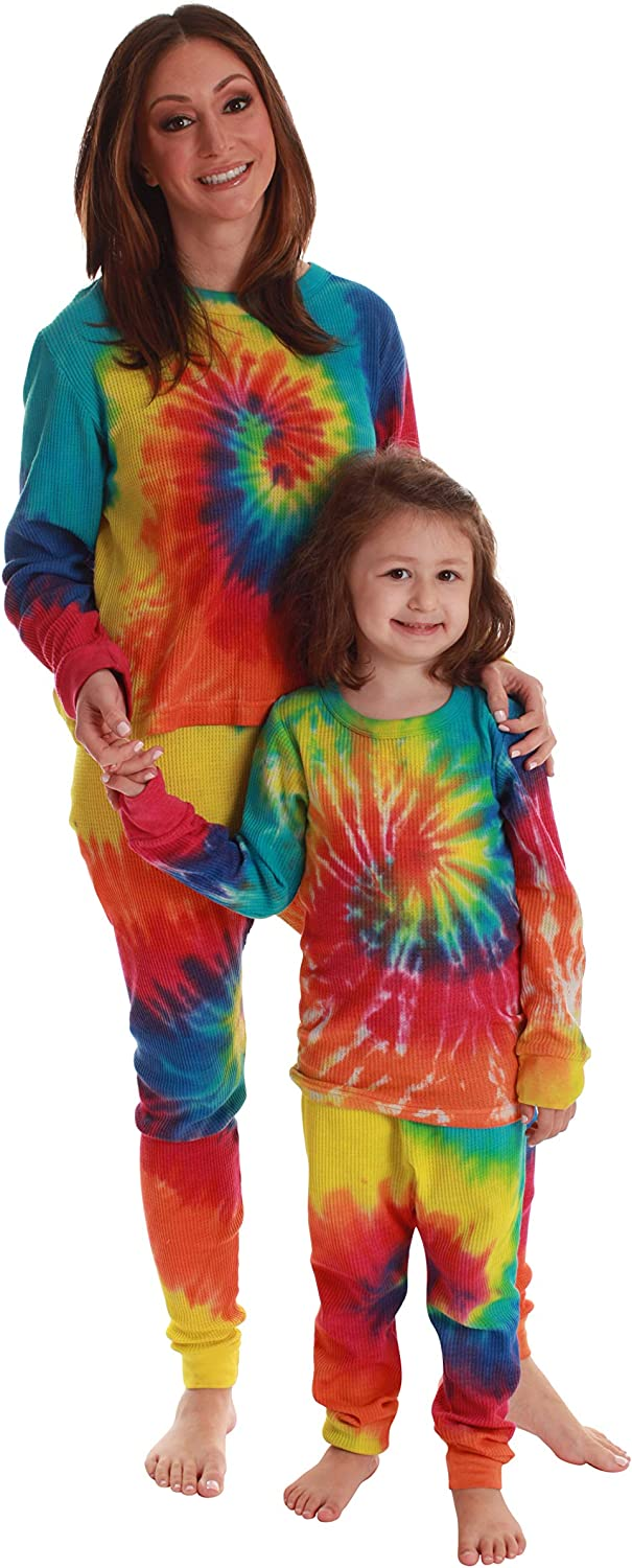 Just Love Tie Dye Mommy and Me Thermal Sets for Women & Children