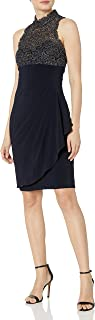 Xscape Women's Short Ity Dress with Chemical Lace Mock Neck Top