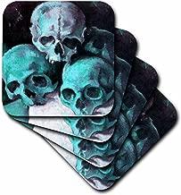 3dRose CST_18268_3 Halloween Skulls-Ceramic Tile Coasters, Set of 4