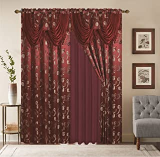 Golden Sara Collection 2pc Curtain Set with Attached Valance and Backing 55