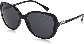 Vogue Women's Plastic Woman Square Sunglasses, Black, 56 mm